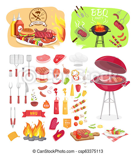 BBQ Grill Party Time Icons Set Vector Illustration - csp63375113