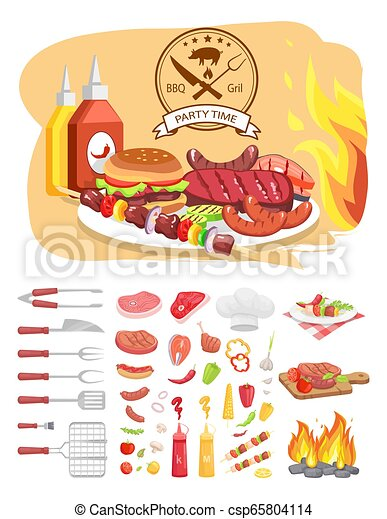 BBQ Grill Party Time Poster Vector Illustration - csp65804114