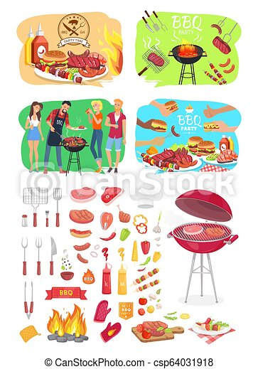 BBQ Grill Party Time Posters Vector Illustration - csp64031918