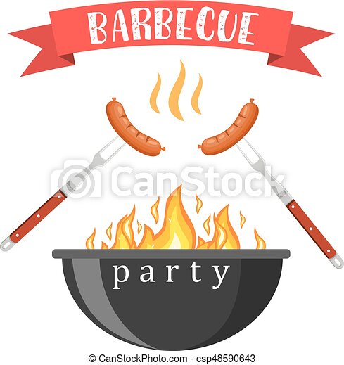 Bbq or barbecue party invitation - csp48590643