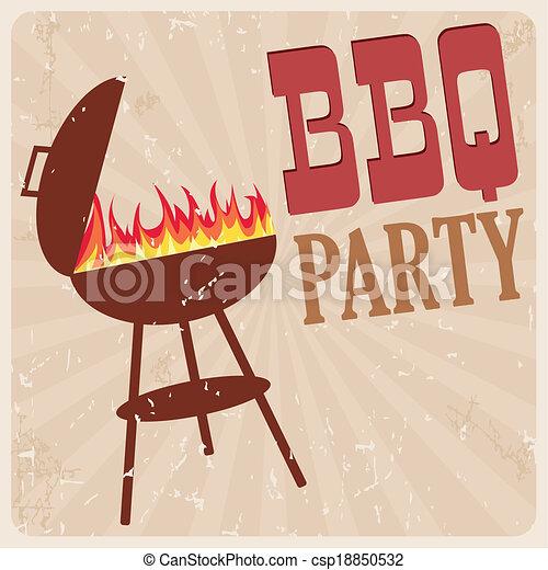 BBQ party card, vector - csp18850532