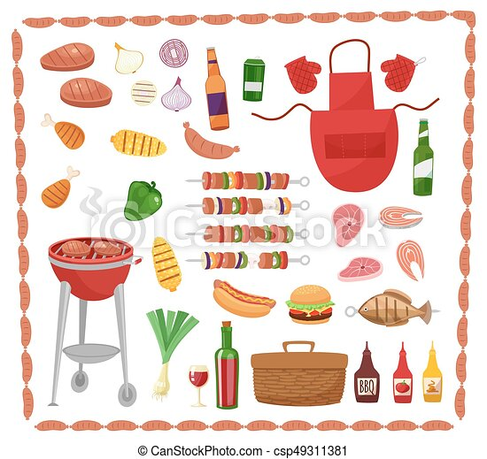 BBQ party elements isolated on white background.Products BBQ,steak, fish meat, beef, vegetables, herbs, fast food , wine and beer. The elements of the meal in a frame of sausages - csp49311381