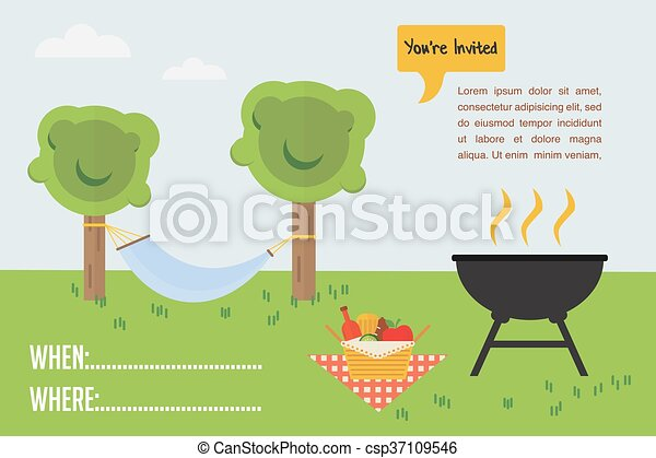 BBQ Party invitation. outdoor scene with grill and picnic basket - csp37109546