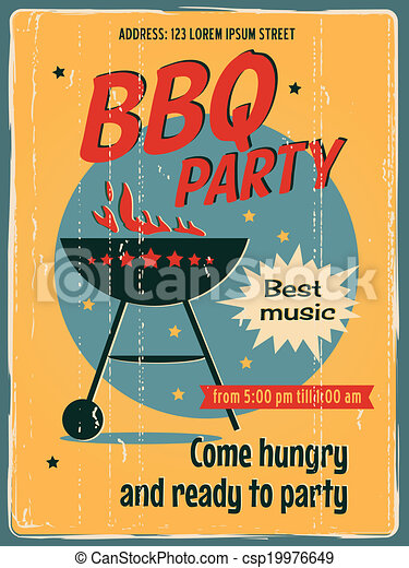 BBQ party poster - csp19976649