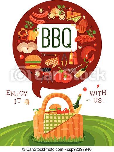 BBQ Picnic Flat Invitation Poster - csp92397946