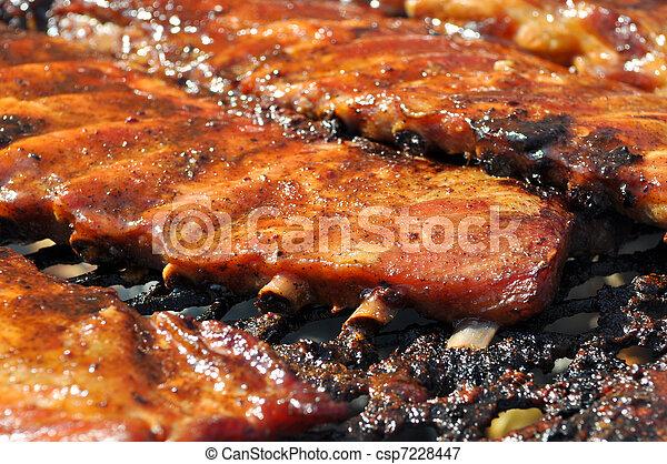 BBQ Pork Ribs on Grill - csp7228447