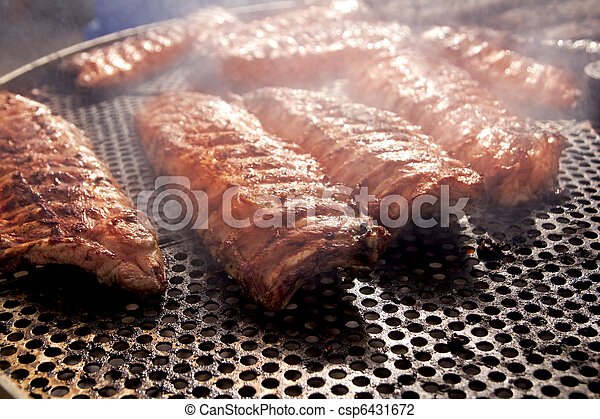 BBQ ribs grilled meat smoke fog barbecue - csp6431672