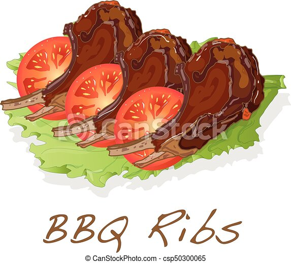 BBQ ribs with tomato and salat - csp50300065