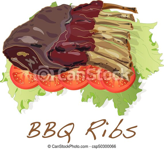 BBQ ribs with tomato and salat - csp50300066