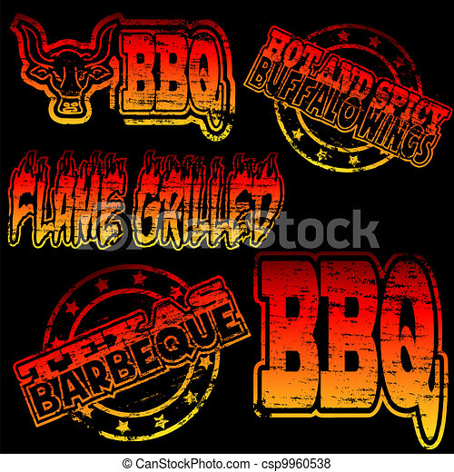 BBQ Rubber Stamp - csp9960538