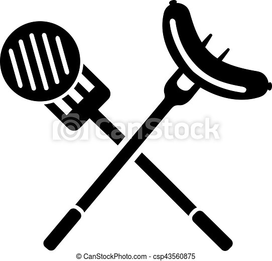 Bbq Sausage On Fork And Meat On Spatula