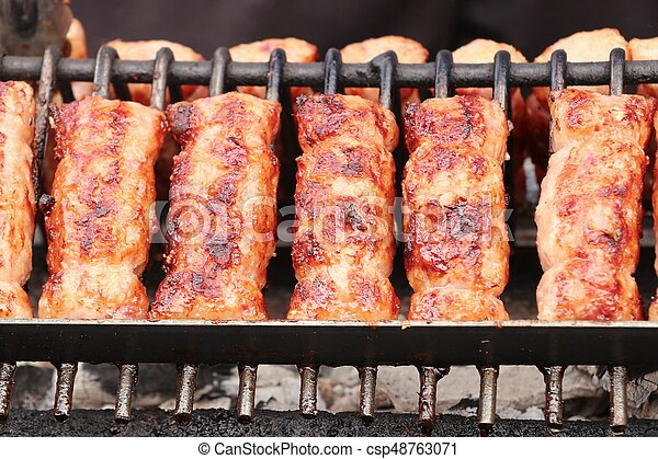 BBQ sausages in the market - csp48763071