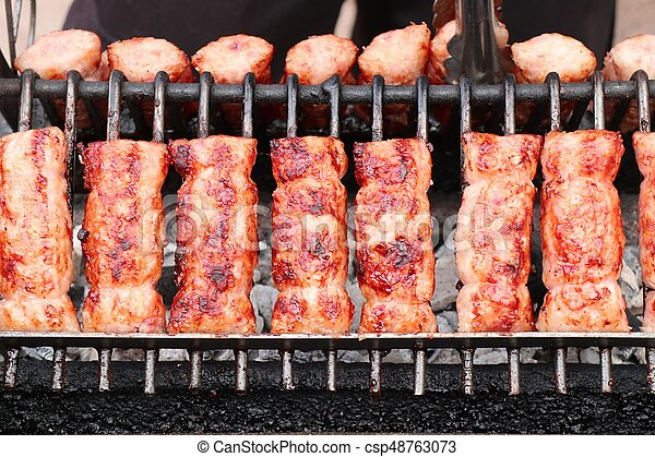 BBQ sausages in the market - csp48763073