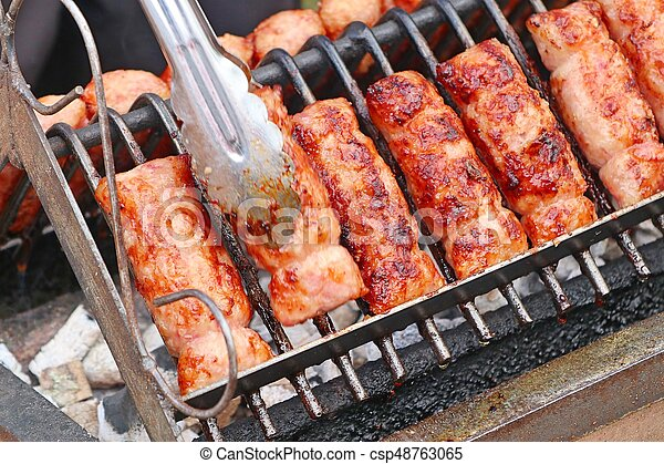 BBQ sausages in the market - csp48763065