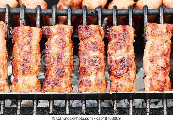 BBQ sausages in the market - csp48763069