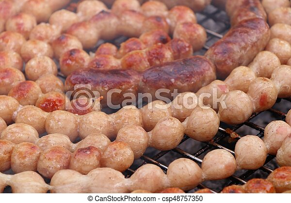 BBQ sausages in the market - csp48757350