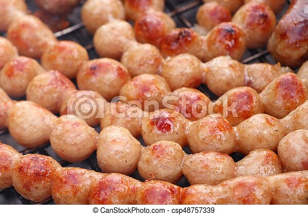BBQ sausages in the market - csp48757339