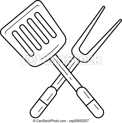 Bbq Tools Vector Line Icon Bbq Tools Line Icon Isolated On White
