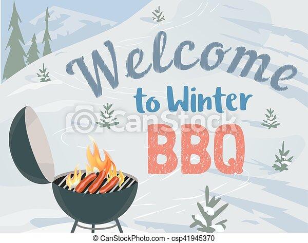 BBQ winter picnic - csp41945370