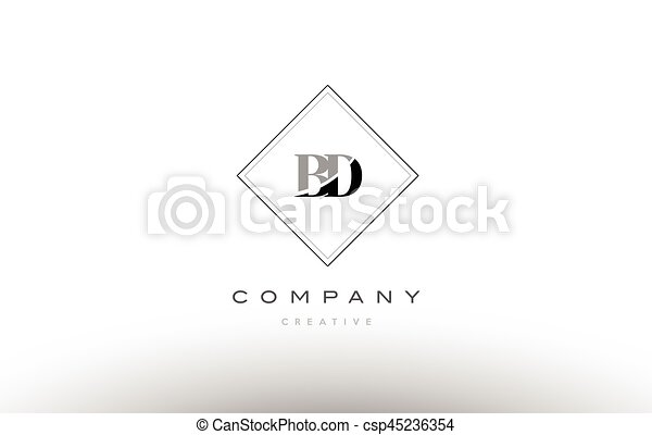 Bd B D Retro Vintage Black White Alphabet Letter Logo Bd B