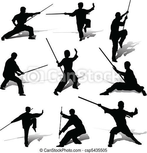 beállít, övé, kung-fu, bot - csp5435505