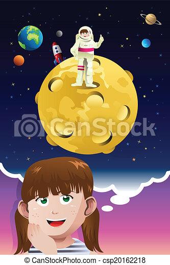 be, ילדה, אסטרונאוט, צעיר, להשתקק - csp20162218