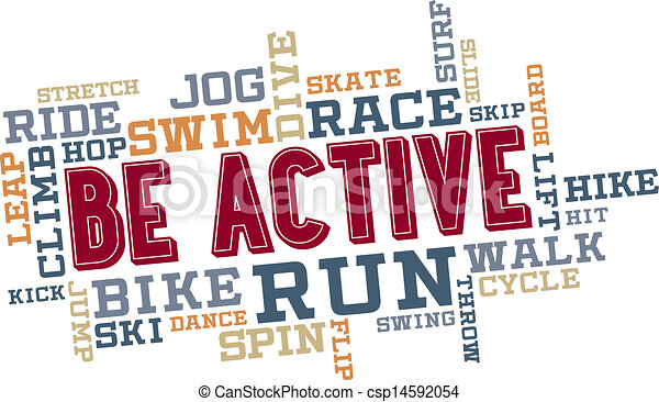 Be Active Word Cloud Collage - csp14592054