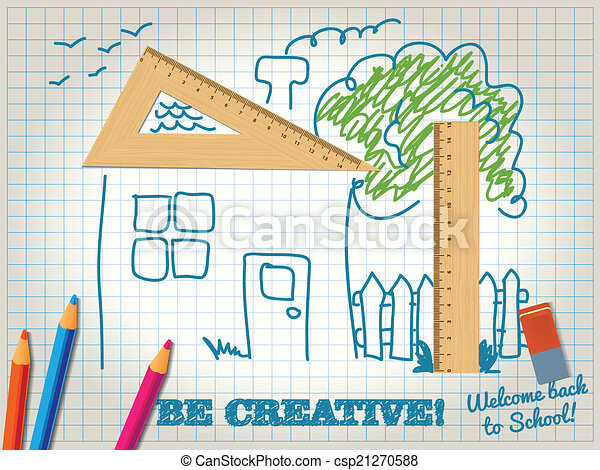 Be Creative while learning. House made with wooden triangle - sk - csp21270588