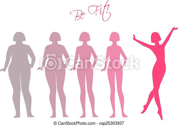 Be fit, woman silhouette images - csp25303937