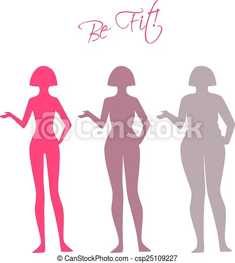 Be fit, woman silhouette images - csp25109227