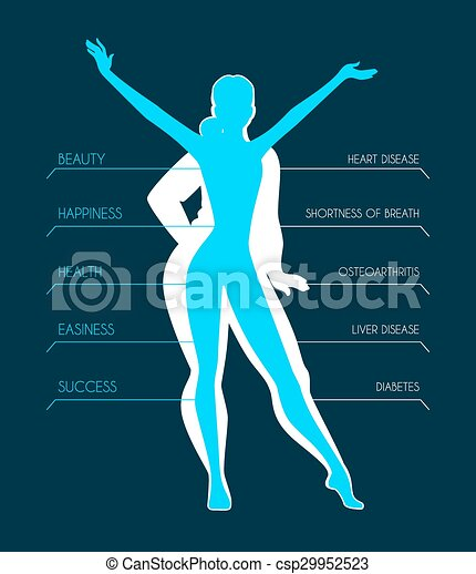 Be fit, woman silhouette images - csp29952523