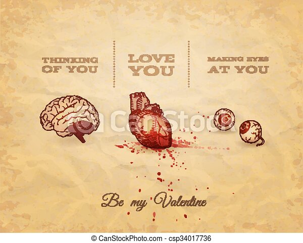 Be My Valentine Card with Anatomy Sketch. Vector illustration, eps10. - csp34017736