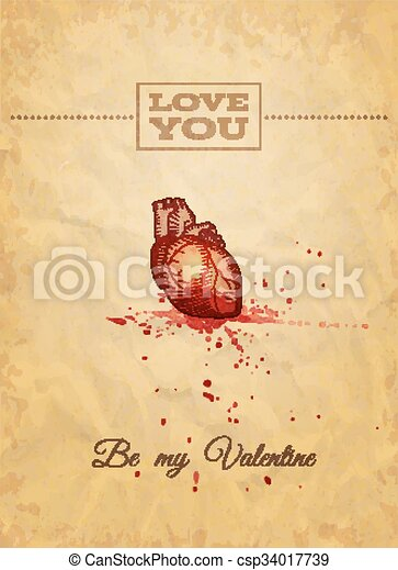 Be My Valentine Card with Anatomy Sketch. Vector illustration, eps10. - csp34017739