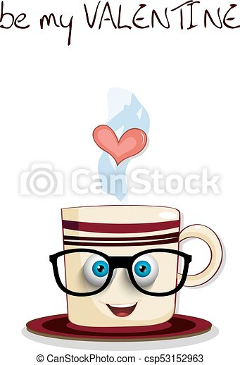 Be my valentine card with cute steaming brown cup - csp53152963