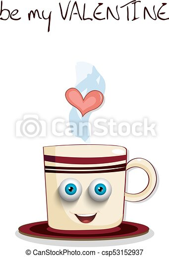 Be my valentine card with cute steaming brown cup - csp53152937