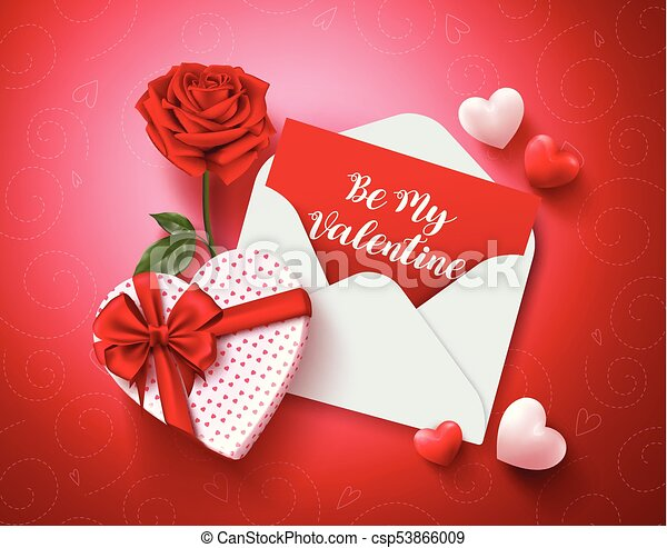 be my valentine greeting card vector design with love letter rose and gift and hearts elements in red background for valentines day vector illustration