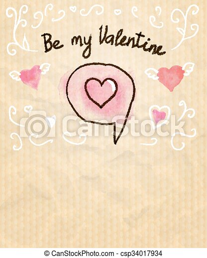Be My Valentine Sketchy Card with Hearts. Vector illustration, eps10. - csp34017934