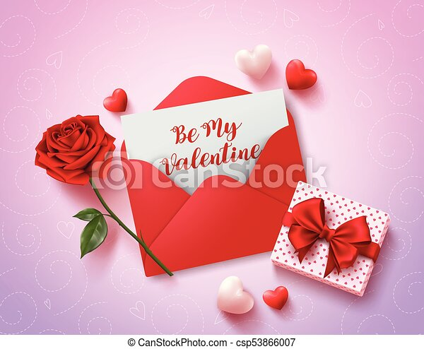 be my valentines greeting card vector design with red love letter rose gift and hearts elements in pink pattern background for valentines celebration