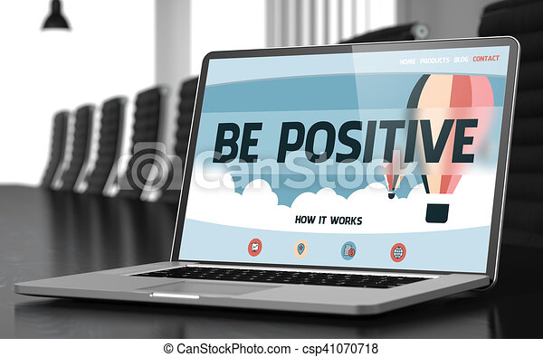 Be Positive on Laptop in Conference Hall. 3D. - csp41070718