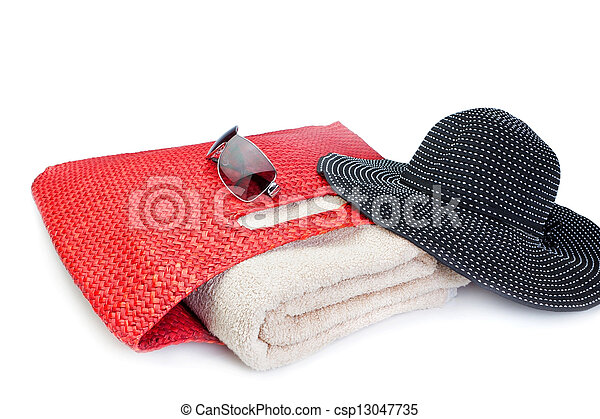 Beach accessories for holidays. On a white background. - csp13047735