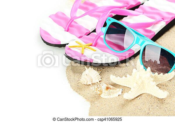 Beach accessories on white background - csp41065925