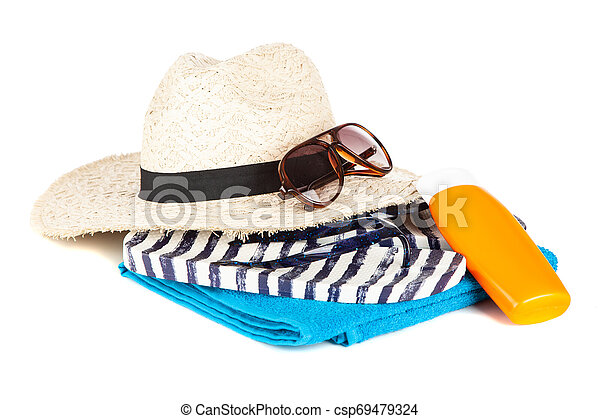 Beach accessories on white background - csp69479324