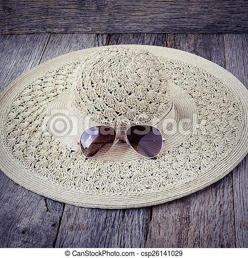 beach accessories on wooden board background - csp26141029