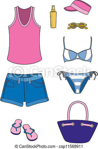 Beach Accessories Everything To Go The Vector Clip Art