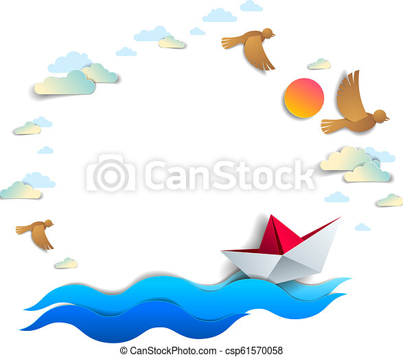 Beach and palms, ocean waves and origami paper ship toy swimming, frame or border with copy space, beautiful vector card of scenic seascape with toy boat floating in the sea and birds in the sky. - csp61570058