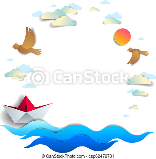 Beach and palms, ocean waves and origami paper ship toy swimming, frame or border with copy space, beautiful vector card of scenic seascape with toy boat floating in the sea and birds in the sky. - csp62479701
