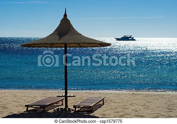 beach and turquoise water - csp1579775