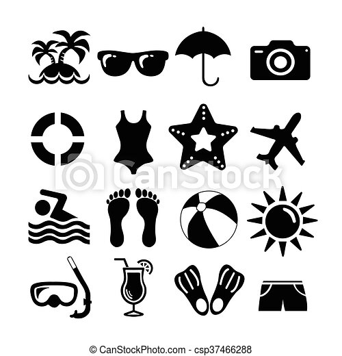 Beach And Vacation Set Icons Beach And Vacation Set Icon Collection