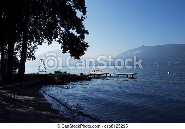 Beach at annecy lake - csp8125295