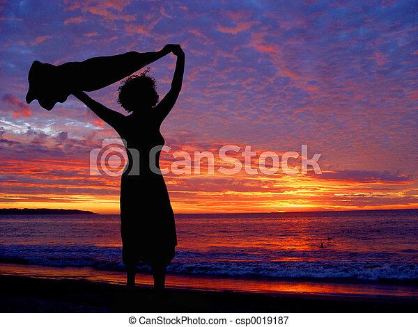 Beach at sunset - csp0019187